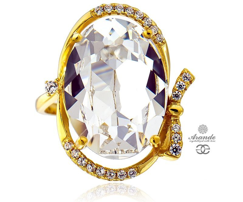 1c459dc3403f Details about SWAROVSKI CRYSTALS BEAUTIFUL CRYSTAL RING GOLD PLATED  STERLING SILVER 925